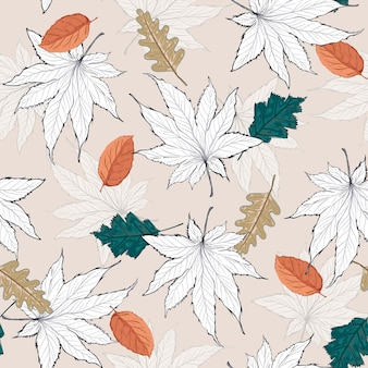Autumn leaves seamless pattern illustration in vector eps 10 with trendy pastel colour palette