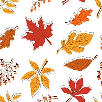 紅葉、落書き風のシームレスなパターン。洋服、食器、テキスタイルのプリント。ベクターイラストeps10。