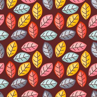 Осенние листья бесшовные модели вектор фон