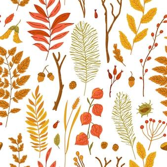 Осенние листья бесшовные обои обои изображение векторные иллюстрации