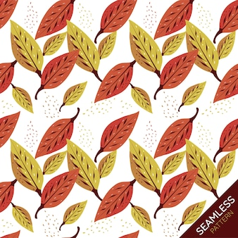 Autumn leaves seamless pattern on white background