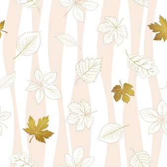 Autumn leaves seamless pattern on white