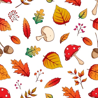 Autumn leaves seamless pattern with colorful hand drawn style on white background