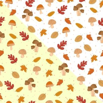 Autumn leaves seamless pattern with mushroom