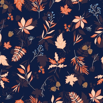 Autumn leaves seamless vector pattern with blue textured background