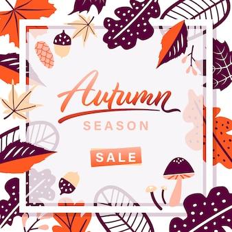 Autumn leaves season sale frame on white background.