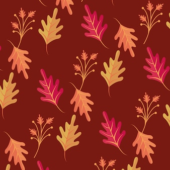 Autumn leaves season seamless pattern