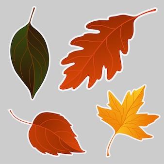 Коллекция стикеров осенние листья