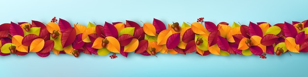 Осенние листья шаблон. осенний плакат и шаблон баннера в стиле flat lay