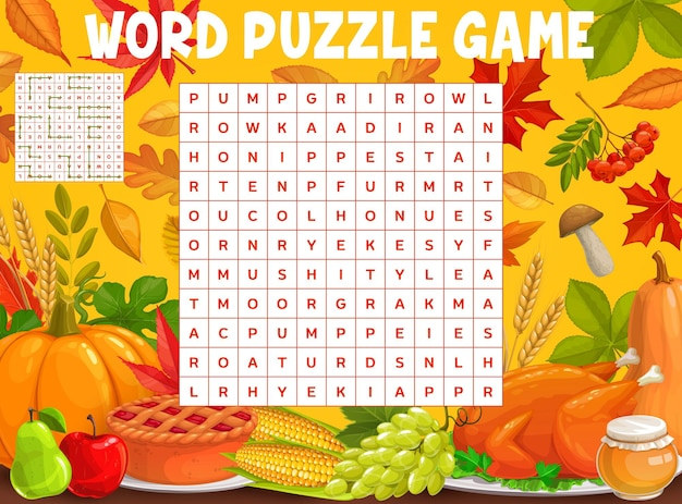 Autumn leaves, thanksgiving word search puzzle