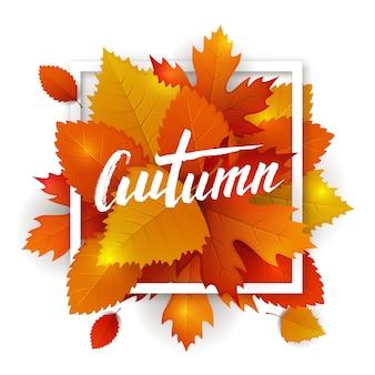 秋の葉のタイポグラフィ。落ち葉の背景に手描きのレタリング。