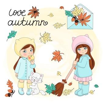 Autumn leaves vector illustration set