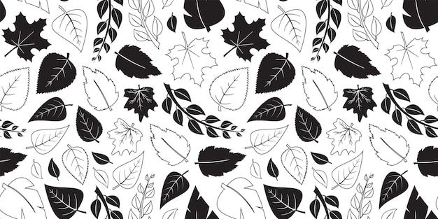 Autumn leaves vector seamless pattern fall black flat and outline design