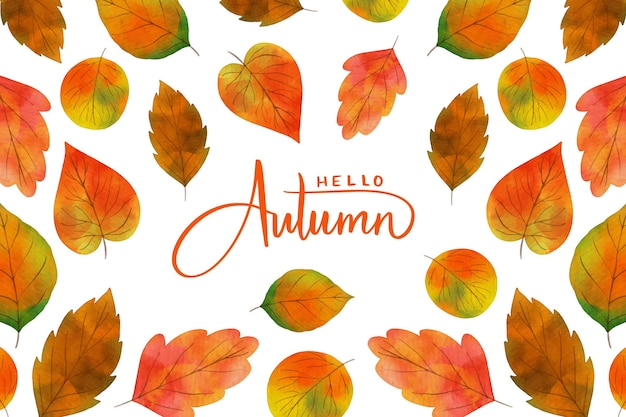 Autumn leaves watercolor background