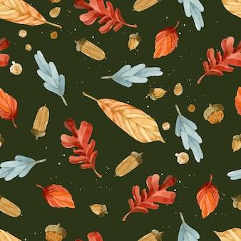 Осенние листья акварель бесшовные модели на темном фоне