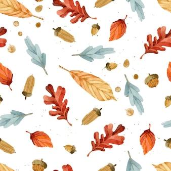 Осенние листья акварель бесшовный фон