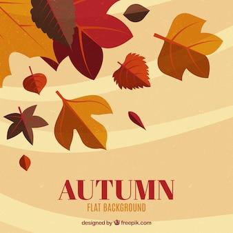 Foglie d'autunno con design piatto