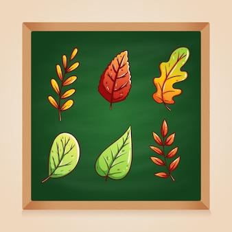 Осенние листья с рисованной стиль на зеленой доске