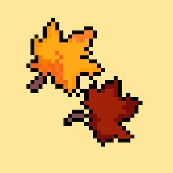 Autumn leaves with pixel art style