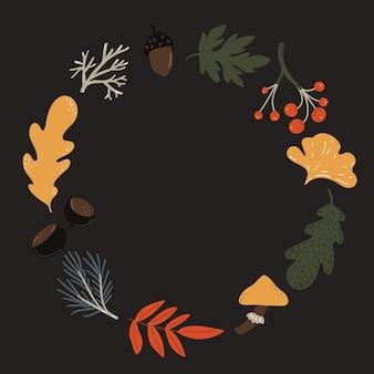 Осенний венок из листьев. падение оранжевый и коричневый лист, желуди, грибная и ягодная рамка.