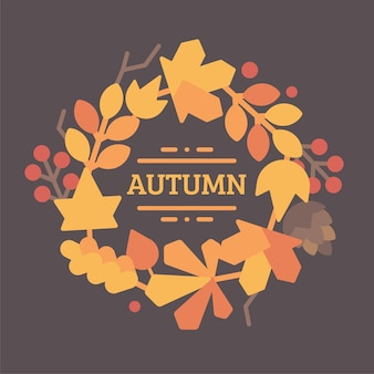 Autumn leaves wreath flat illustration with text