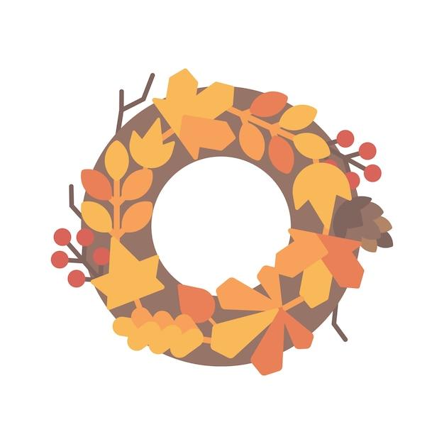 Осенний лист венок плоский рисунок
