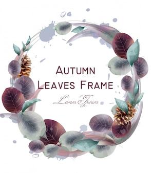 Autumn leaves wreath watercolor