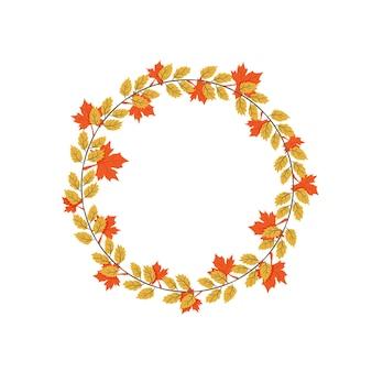 가을 단풍 화환 노란색과 주황색 잎 벡터 가을 그림