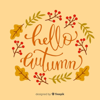 Autumn lettering background with leaves