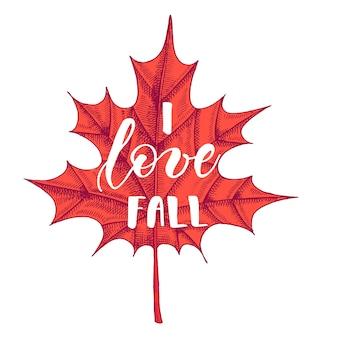 Autumn lettering calligraphy phrase - i love fall.