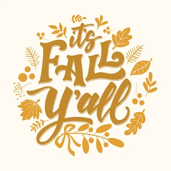 Autumn lettering card it's fall y'all