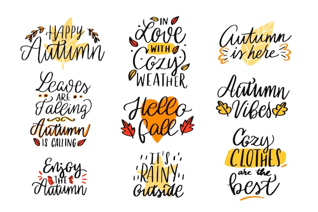 Autumn lettering collection. happy autumn. in love with cozy weather. it's rainy outside
