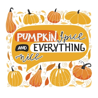 Autumn lettering illustration with pumpkin.