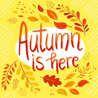 Autumn lettering leves background