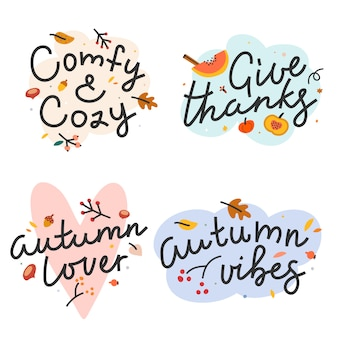 Autumn lettering phrases with illustrations