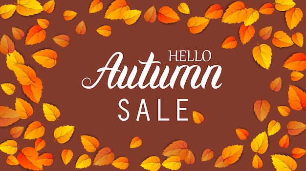 Autumn lettering sale banner. september or october shopping promotion template. web seasonal hello autumn poster.