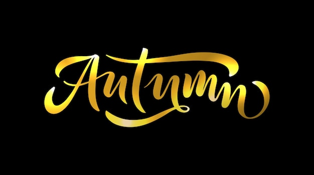 Autumn lettering typography modern autumn calligraphy vector illustration on textured background