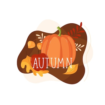 Autumn lettering with pumpkin, flowers and autumn leaves in flat style