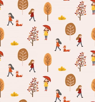 Autumn life seamless pattern