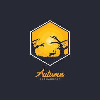 秋のロゴテンプレートデザイン。