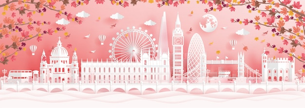 Autumn in london, england with falling maple leaves and world famous landmarks