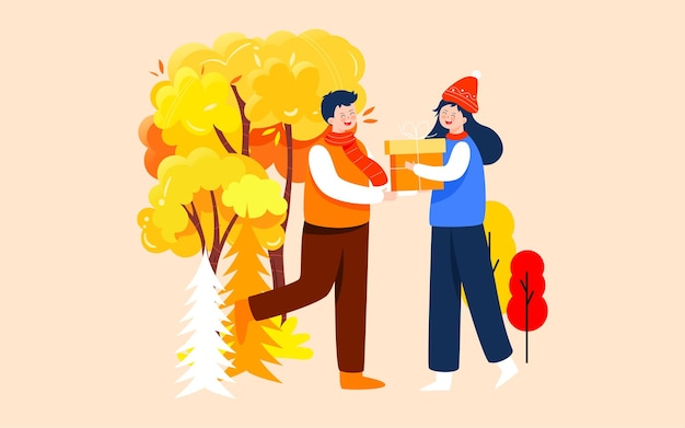 Autumn lovers outdoor activity illustration fall travel and outing poster
