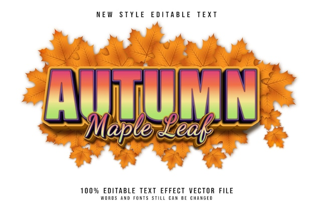 Autumn maple editable text effect 3 dimension emboss cartoon style