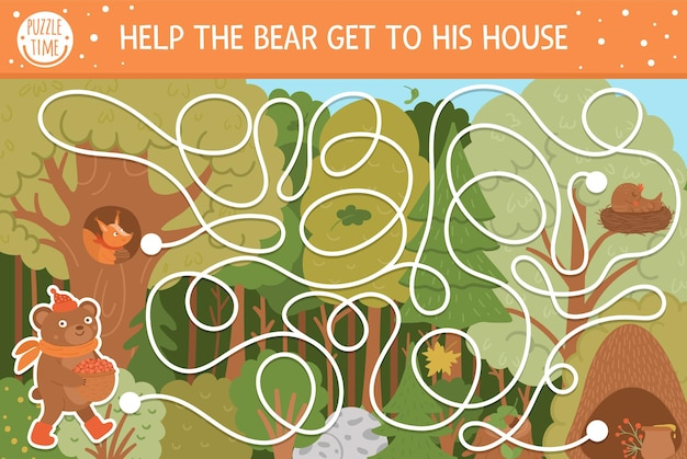 Autumn maze for children. preschool printable educational activity. funny fall season puzzle with cute woodland animal. help the bear get to his house. forest game for kids.