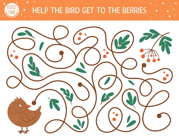 Autumn maze for children. preschool printable educational activity. funny fall season puzzle with cute woodland animal. help the bird get to the berries. forest game for kids.