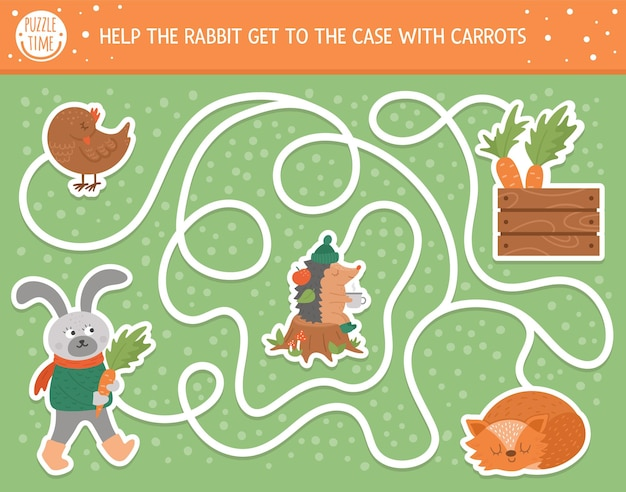 Autumn maze for children. preschool printable educational activity. funny fall season puzzle with cute woodland animal. help the rabbit get to the case with carrots. forest game for kids.