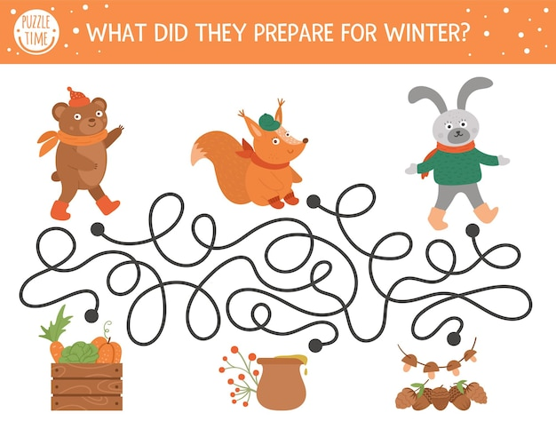 Autumn maze for children. preschool printable educational activity. funny fall season puzzle with cute woodland animals and harvest. what did they prepare for winter. forest game for kids.