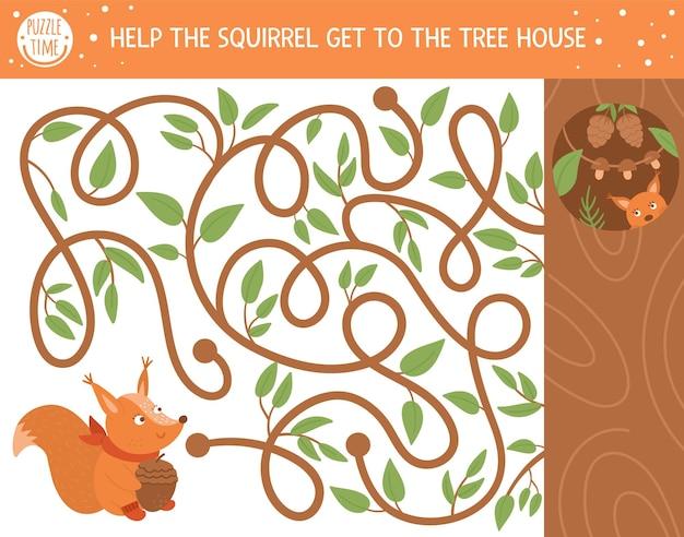 子供のための秋の迷路。就学前の印刷可能な教育活動。かわいい動物と面白い秋の季節のパズル。リスが木の家に着くのを手伝ってください。子供のための森のゲーム。