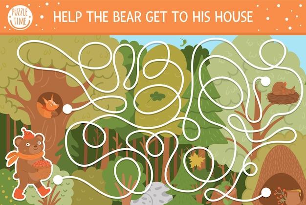 子供のための秋の迷路。就学前の印刷可能な教育活動。かわいい森の動物と面白い秋のシーズンのパズル。クマが彼の家に着くのを手伝ってください。子供のための森のゲーム。
