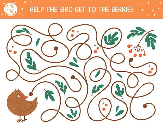 子供のための秋の迷路。就学前の印刷可能な教育活動。かわいい森の動物と面白い秋のシーズンのパズル。鳥がベリーに着くのを手伝ってください。子供のための森のゲーム。